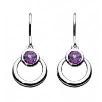 Gemme Amethyst Loop Drop Earrings